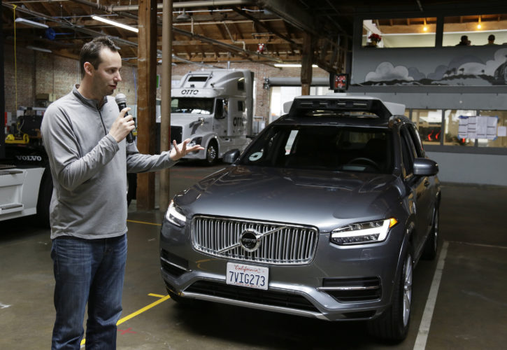 AP PHOTO In this Dec. 13, 2016, file photo, Anthony Levandowski, head of Uber's self-driving program, speaks about their driverless car in San Francisco. A self-driving car company founded by Google is accusing the former top engineer of stealing pivotal technology that is propelling Uber's effort to assemble a fleet of automated vehicles for its popular ride-hailing service.