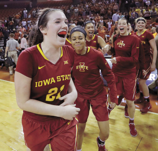 Iowa State guard Bridget Carleton (21) and teammates celebrate a 70-66 win over Texas in an NCAA college basketball game, Friday, Feb. 24, 2017, in Austin, Texas. (AP Photo/Eric Gay)