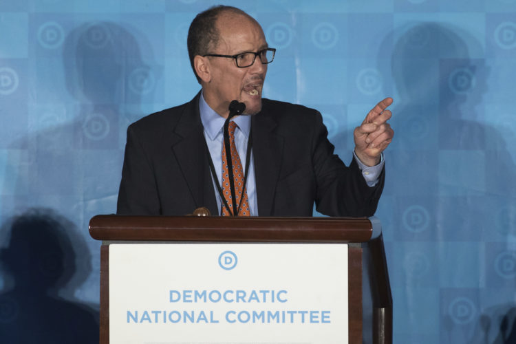 AP PHOTO Former Labor Secretary Tom Perez, who was elected to run the Democratic National Committee, speaks during the general session of the DNC winter meeting in Atlanta, Saturday.