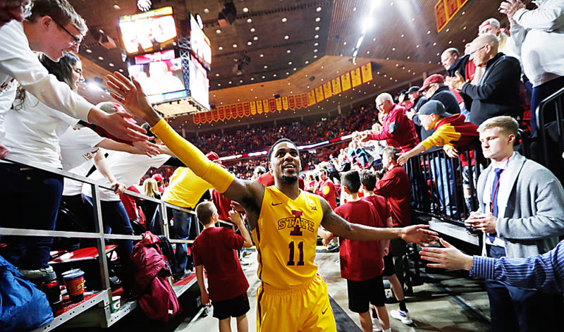 AP PHOTO • Iowa State guard Monte Morris (11) celebrates with fans after an NCAA college basketball game against Baylor, Saturday in Ames.