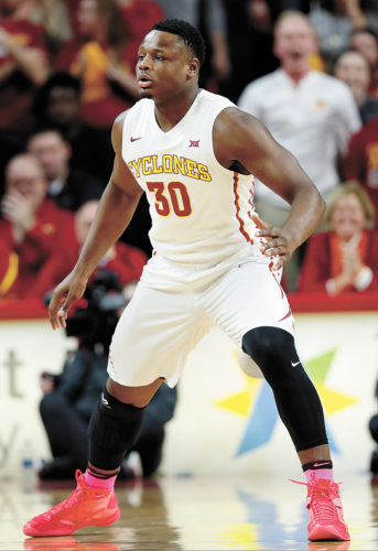 AP FILE PHOTO • Iowa State forward Deonte Burton plays defense during the first half of a Big 12 Conference game against Oklahoma State on Feb. 28 in Ames.