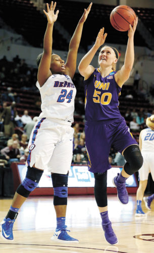 AP PHOTO • Northern Iowa forward Megan Maahs (50) attempts a shot past DePaul guard Tanita Allen (24) during the first half of a first-round game in the women's NCAA Tournament on Friday in Starkville, Miss.