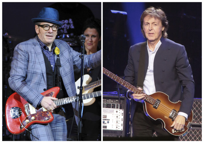 """AP PHOTO In this combination photo, musicians Elvis Costello, left, performs at """"The Music of Prince"""" tribute concert on March 7, 2013, in New York and Paul McCartney performs during his """"Out There Tour 2015"""" on June 21, 2015, in Philadelphia. A new Paul McCartney reissue of """"Flowers in the Dirt"""" offers two audio discs that are devoted to McCartney's songwriting collaboration with Elvis Costello in 1987 and 1988."""