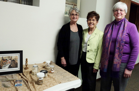 CONTRIBUTED PHOTO Pictured are Dee McCoy, Margaret Kroener and Judy Sheldon who shared with the Marshalltown Lioness souvenirs and stories of their trip to Israel.
