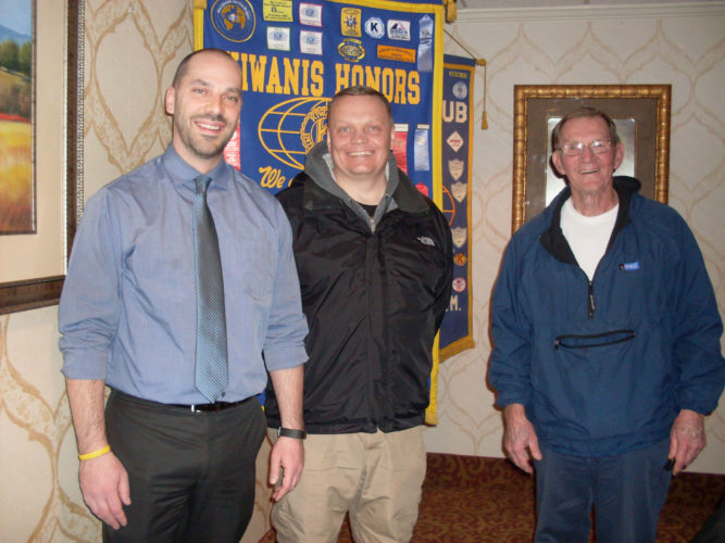 CONTRIBUTED PHOTO Police Chief Mike Tupper and Chairman of the Crime Stoppers Board Todd Steinkamp were welcomed to Kiwanis P.M. by President Kenny Lamb. Tupper updated the club on the great impact Crime Stoppers has made nationwide in bringing criminals to justice.