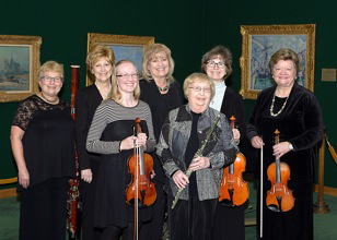 CONTRIBUTED PHOTO Tuesday Musical Club members performed Mendelssohn, Brahms and Bach compositions at the Fisher Community Center Art Gallery. Back row from left to right are Cynthia Augspurger, Marsha Bristley, Jan Randall, Christine Norman, Mary Giese. Front row are Dr. Allison Brown, guest violinist, and Judy Erion.