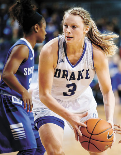 AP FILE PHOTO • Drake's Lizzy Wendell drives to the basket against Indiana State during a Missouri Valley Conference game Jan. 22 in Des Moines.