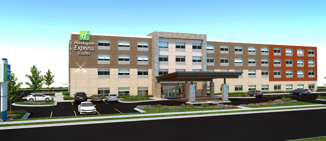 CONTRIBUTED GRAPHIC Pictured is an artist's rendering of a Holiday Inn Express which broke ground recently in the 100 block of Iowa Avenue West. Hawkeye Hotels, an Iowa-based consortium, is owner. The Marshalltown project marks the firm's 18th in Iowa, and its first foray locally. The hotel will contain 93 rooms and is slated to open in January 2018.