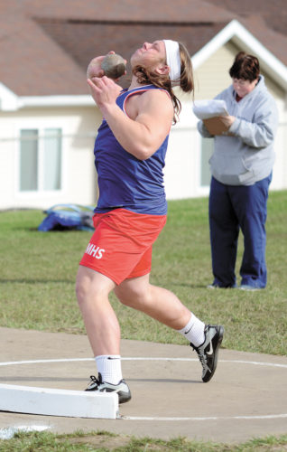 T-R PHOTO BY STEPHEN KOENIGSFELD • Marshalltown's Maddux Richardson attempts one of his preliminary throws in the shot put at Friday's Kenny Dean Invitational. Richardson threw for 56 feet, 7.5 inches, a new Relays record, and now holds the fourth-best throw in Bobcat history.