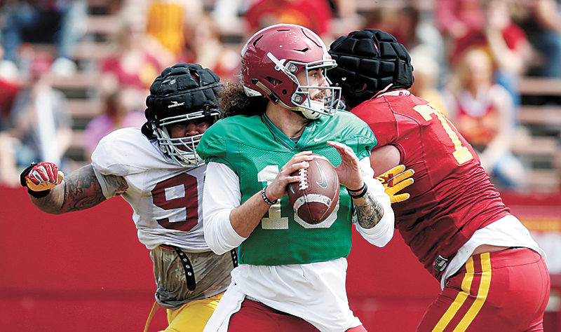 AP PHOTO • Iowa State quarterback Jacob Park looks to throws a pass during his team's spring football game Saturday at Jack Trice Stadium in Ames.