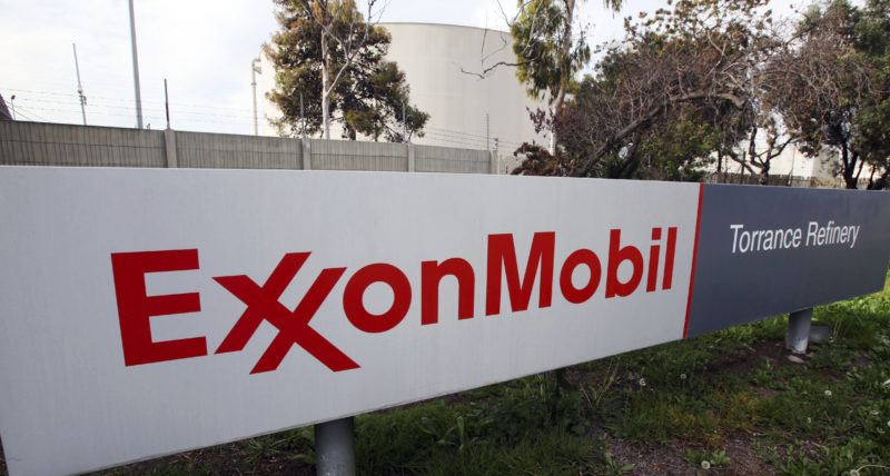 AP PHOTO This Jan. 30, 2012, file photo, shows the sign for the Exxon Mobil Torrance Refinery in Torrance, Calif. A person familiar with the matter said Wednesday, that Exxon Mobil is seeking permission from the U.S. government for approval to resume drilling around the Black Sea with a Russian partner, state-owned Rosneft.