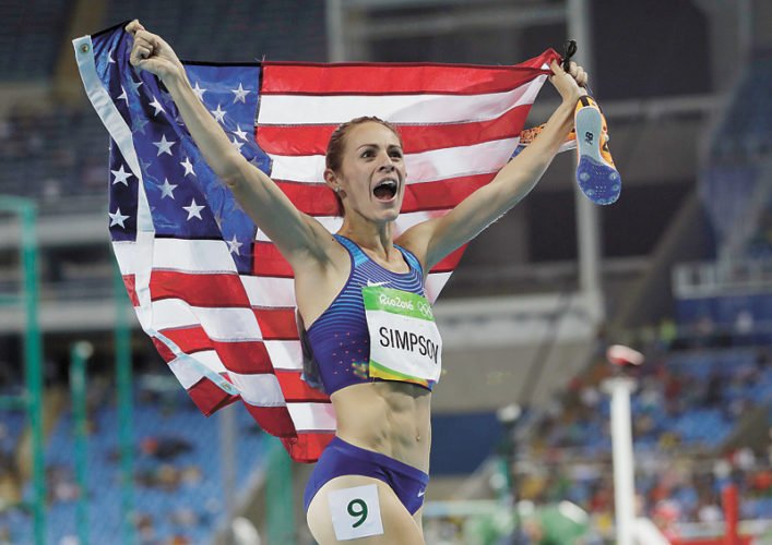 AP FILE PHOTO • Jennifer Simpson of the United States celebrates winning the bronze medal in the women's 1,500 meters during the 2016 Summer Olympics on Aug. 16, 2016, at the Olympic Stadium in Rio de Janeiro, Brazil.