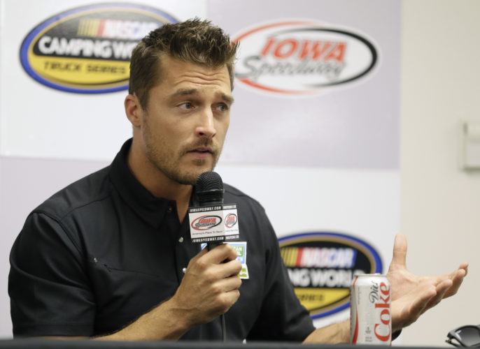 "AP PHOTO In this June 19, 2015, file photo, Iowa farmer Chris Soules, a former star of ABC's ""The Bachelor,"" speaks during a news conference before a NASCAR event in Newton. Soules was booked early Tuesday, after his arrest on a charge of leaving the scene of a fatal accident near Arlington. Police said he fled the scene of a fatal traffic accident."
