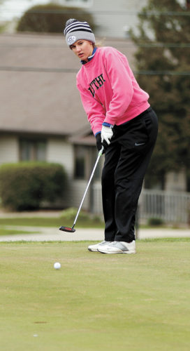 T-R PHOTO BY ADAM RING • Marshalltown golfer Emily Vest putts on the No. 1 green at the American Legion Memorial Golf Course during the Linda Bloom Invite Thursday. Vest shot a career-best 90 to help the Bobcats to a seventh-place team finish.
