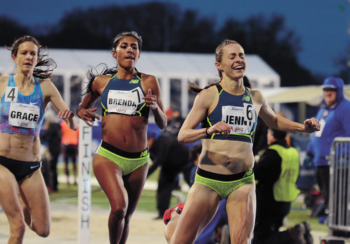 T-R PHOTO BY STEPHEN KOENIGSFELD • Jenny Simpson (6) leads the field of 1,500-meter runners to the finish line for the conclusion of Friday night's Rio Rematch event at the Drake Relays in Des Moines. Simpson won in a time of 4 minutes, 16.10 seconds. Brenda Martinez (7) took second in 4:16.40 and Kate Grace (4) was third in 4:16.62.