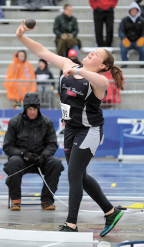 T-R PHOTO BY STEPHEN KOENIGSFELD • South Hardin's Brylie Zeisneiss throws during the shot put competition at the Drake Relays on Friday morning at Drake Stadium. Zeisneiss threw 39 feet, 1 1/2 in her third throw of the prelims and qualified for the finals. She finished eighth overall in her first Drake Relays appearance.