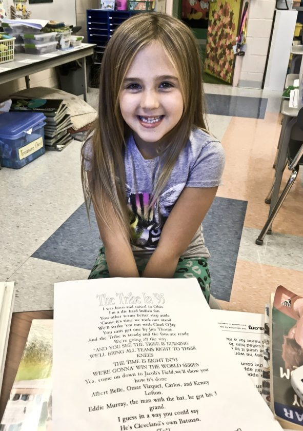Second-grader Mia Starnes talks about the letter she wrote to Lindor that the shortstop spoke about and the penny that she send him that he carries in his pocket during games of the ALCS.