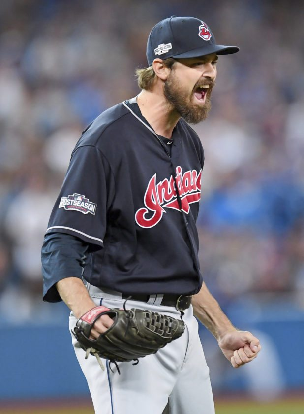 AP photo Cleveland Indians relief pitcher Andrew Miller celebrates after Toronto Blue Jays' Josh Donaldson hit into an inning-ending double play during the sixth inning of Game 5 of baseball's American League Championship Series in Toronto on Wednesday. Miller was named Most Valuable Player of the Tribe's 4-1 series victory over the Blue Jays. The Indians are awaiting a National League foe for the World Series.
