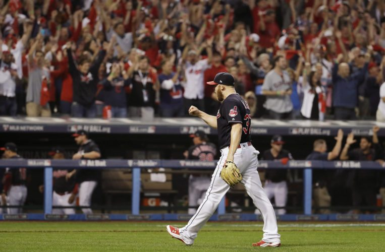 Cleveland Indians relief pitcher Cody Allen celebrates after their 2-1 win against the Toronto Blue Jays in Game 2 of baseball's American League Championship Series in Cleveland, Saturday, Oct. 15, 2016. (AP Photo/Matt Slocum)