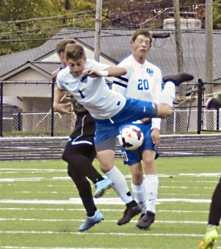 Tribune Chronicle / Bob Ettinger Lakeview's Anthony Sylvester (1) is clipped by a West Branch defender while Josh Kelly (20) provides backup in Division II sectional tournament action at Don Richards Memorial Stadium on Saturday afternoon.