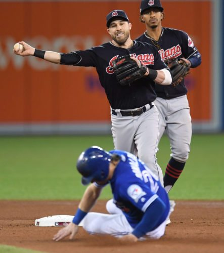 Toronto Blue Jays' Josh Donaldson (20) is forced out at second base as Cleveland Indians second baseman Jason Kipnis turns an inning-ending double play during the fourth inning in Game 5 of baseball's American League Championship Series in Toronto, Wednesday, Oct. 19, 2016. Toronto's Edwin Encarnacion was out at first. (Frank Gunn/The Canadian Press via AP)