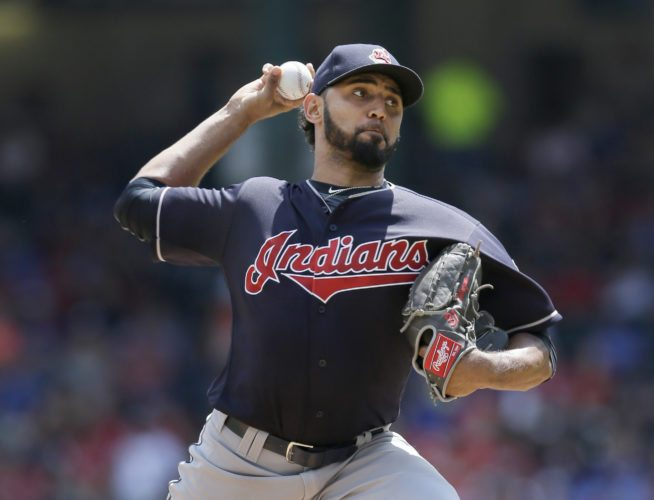 "FILE - In this Aug. 28, 2016, file photo, Cleveland Indians starting pitcher Danny Salazar throws during the team's baseball game against the Texas Rangers in Arlington, Texas. Salazar, who hasn't pitched since Sept. 9 because of tightness in his right forearm, has thrown well in recent bullpen sessions and might be able to pitch for the first time in this postseason. Manager Terry Francona said Friday, Oct. 21, that Salazar has ""let it go"" during some recent workout and has not been restricted to throwing only fastballs and change-ups. (AP Photo/LM Otero, File)"