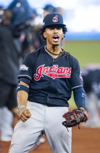 Cleveland Indians shortstop Francisco Lindor celebrates after the Indians defeated the Toronto Blue Jays 3-0 during Game 5 of the baseball American League Championship Series in Toronto on Wednesday, Oct. 19, 2016. (Frank Gunn/The Canadian Press via AP)