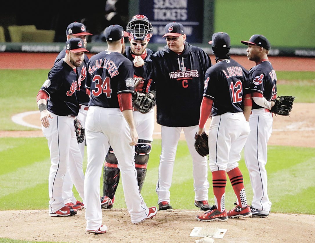 Cleveland Indians relief pitcher Zach McAllister (34) comes into game during the fourth inning of Game 2 of the Major League Baseball World Series against the Chicago Cubs Wednesday, Oct. 26, 2016, in Cleveland. (AP Photo/Charlie Riedel)