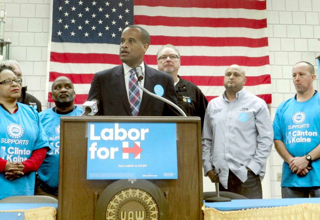 Former Youngstown mayor Jay Williams speaks during a news conference at UAW Local 1112 hall. Williams, who is Assistant Secretary of Commerce for Economic Development, returned to the Valley to campaign for Democrat Hillary Clinton.