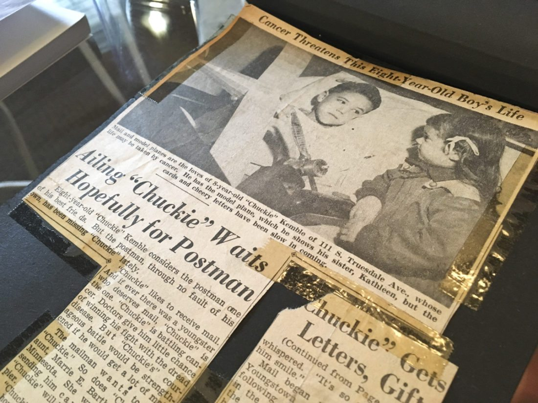 Newspaper clippings about Kathlee Higham's 8-year-old brother Chuckie who died of cancer in 1952.