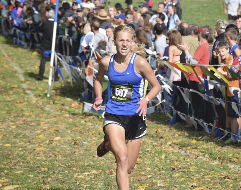 Tribune Chronicle / John Vargo Grace Steimle of Grand Valley finished first in the Division III girls cross country regional Saturday at Boardman High School.
