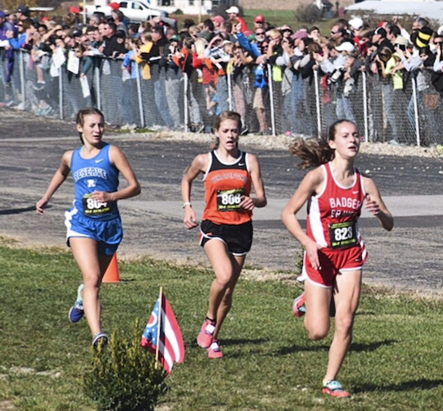 Tribune Chronicle / John Vargo Miranda Stanhope, right, of Badger heads down the stretch to a ninth-place finish Saturday in the Division III state cross country meet. Western Reserve's Ashleigh Rowley, left, finished 11th.