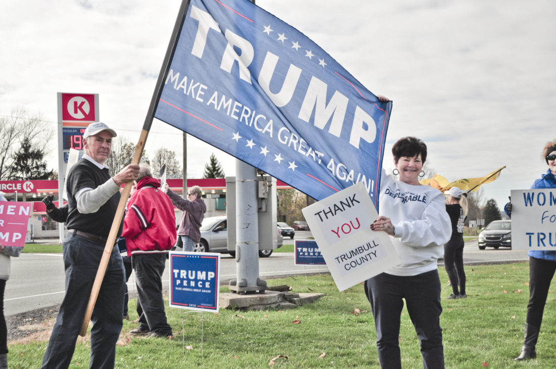 Jack Canzonetta and Judie Shortreed thanked Trumbull County voters Saturday in Cortland for helping to elect Donald Trump. Many drivers at the intersection honked with support.
