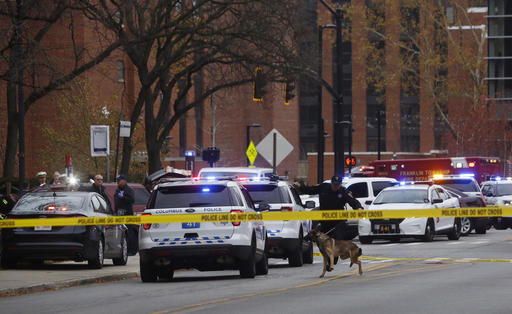 Police respond to reports of an active shooter on campus at Ohio State University today in Columbus, Ohio. (Tom Dodge/The Columbus Dispatch via AP)