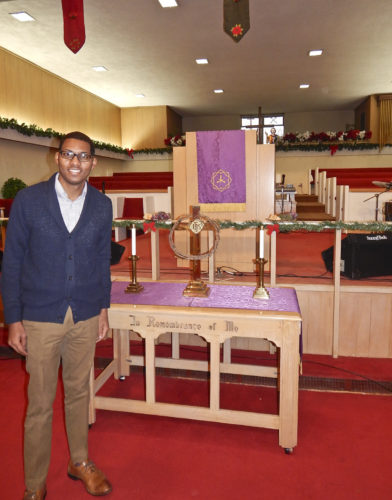 Tribune Chronicle  / Bob Coupland  The Rev. Todd Johnson stands in the sanctuary of Second Baptist Church in Warren, which is marking its 100th anniversary this year with the distinction of being the oldest African-American Baptist church in the city and Trumbull County. The church held a three-day anniversary celebration in the fall.