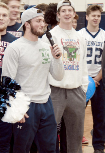 JFK Football Captain Ross Nosera speaks to the public at a team sendoff at the school.