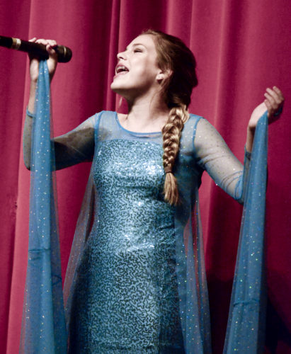 "120216...PACKARD X-MAS 1...Warren...12-02-16... Vocalist Cortney MacKay (correct) of Hubbard, sings the crowd pleaser ""Let It Go"" from Disney's Frozen during the Christmas Spectacular Children's Concert at Packard Music Hall Friday afternoon...by R. Michael Semple"