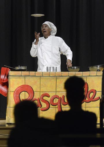 "Performance artist Robert Post performs his show ""How to Survive Middle School"" for students at Willard PK-8 school Thursday afternoon. Photo by R. Michael Semple"