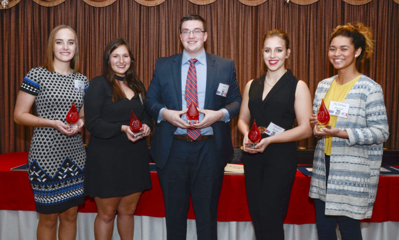 Howland Community News / R. Michael Semple  The top five winners of the Twenty Under 20 award were, from left, Jasmine Hickey of Bristol, who attends Trumbull Career and Technical Center; Taylor Hopkins of Howland High School, who also was in the top five last year; overall winner Ryan Jones of Howland High School; Elizabeth McCue of Warren John F. Kennedy High School; and Da'Jahnae Provitt of Warren G. Harding High School.