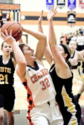 Tribune Chronicle / Bob Ettinger Shae Keeley of Chalker goes up for a shot as Alayna Sines of Bristol defends on Thursday night at Chalker. The Wildcats beat Bristol, 51-40, in a Northeastern Athletic Conference matchup.