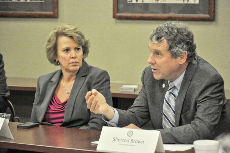 U.S Sen. Sherrod Brown asks health professionals questions about how the Affordable Care Act has impacted access to care in their fields Sunday at St. Elizabeth Youngstown Hospital in a roundtable discussion as Congress contemplates the repeal of the law.