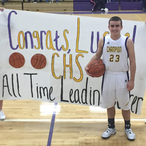 Special to Tribune Chronicle Champion's Lucas Nasonti poses for a picture after setting the school record for points in a career. The point guard broke a mark that lasted for 17 years.
