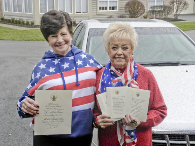 Judie Shortreed, 70 of Cortland, left, holds the invitation to the presidential inauguration while Mary Theis, 82 of Warren, right, holds their invitations to the welcome concert, parade, and inaugural ball. Shortreed and Theis will be among the local Republican women that attend the presidential inauguration on Friday.