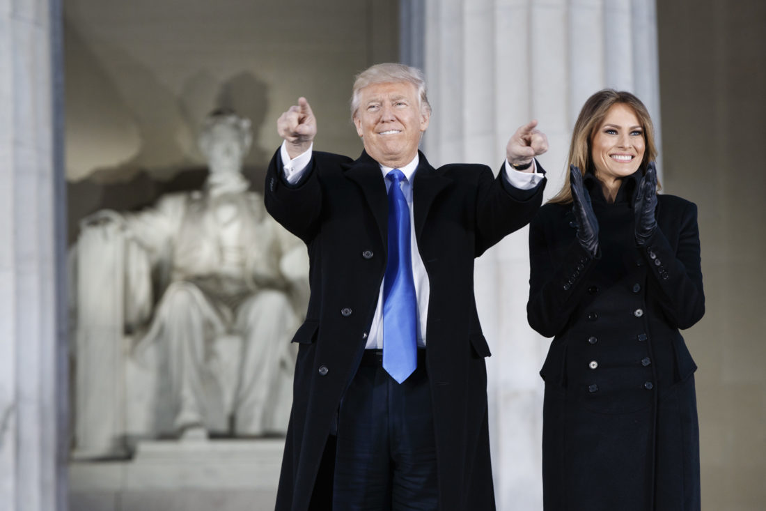 "AP  President-elect Donald Trump and his wife, Melania, arrive Thursday at the ""Make America Great Again Welcome Concert"" at the Lincoln Memorial in Washington."