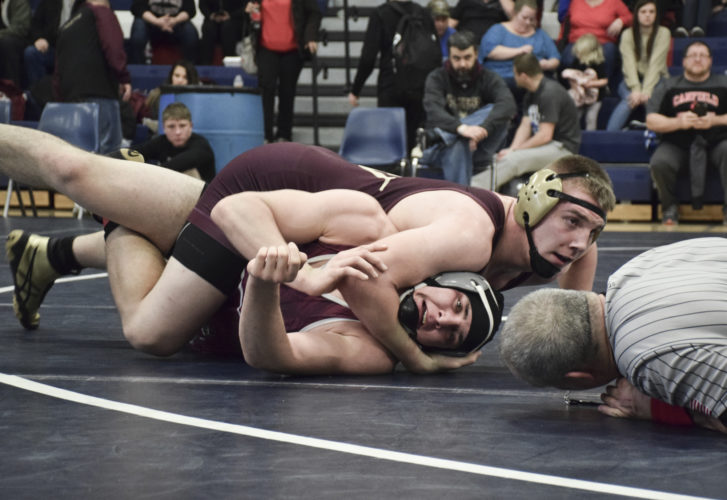 Tribune Chronicle / Joe Simon Pymatuning Valley's Gaige Willis, top, shown here attempting to pin Alex King of Boardman during a tournament earlier this season, hopes to win one more match than last season, when he was a state runner-up.