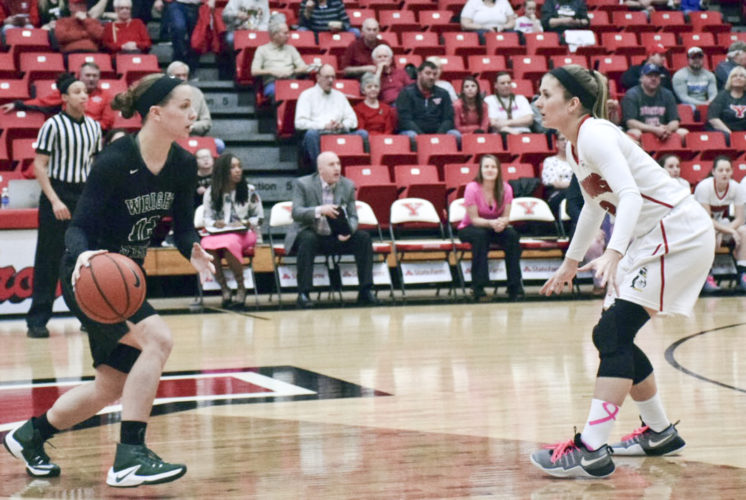 Tribune Chronicle / John Vargo Wright State's Myrthe den Heeten, left, dribbles against Youngstown State's Alison Smolinski Saturday in Youngstown.