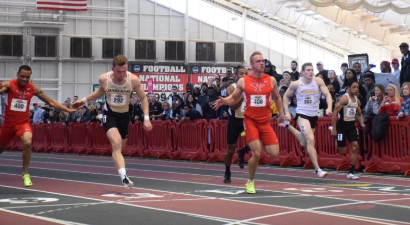 Tribune Chronicle / John Vargo YSU's Chad Zallow, center, wins the 60-meter dash during Sunday's Horizon League Indoor Track and Field meet in Youngstown. Zallow won the 60 hurdles and 200 as well. Zallow led the men to a second straight league title, while the women won their third title in four years.