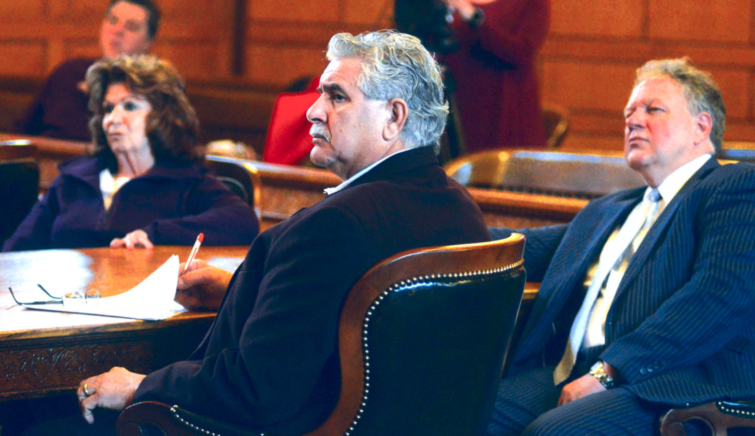 032017...R INFANTE 1...Warren...03-20-17...Former Niles Mayor Ralph Infante, center, listens along with his wife Judy Infante, left, and attorney John Juhasz, right, during the pre-trial hearing Monday morning before visiting Judge Patricia Cosgrove...by R. Michael Semple