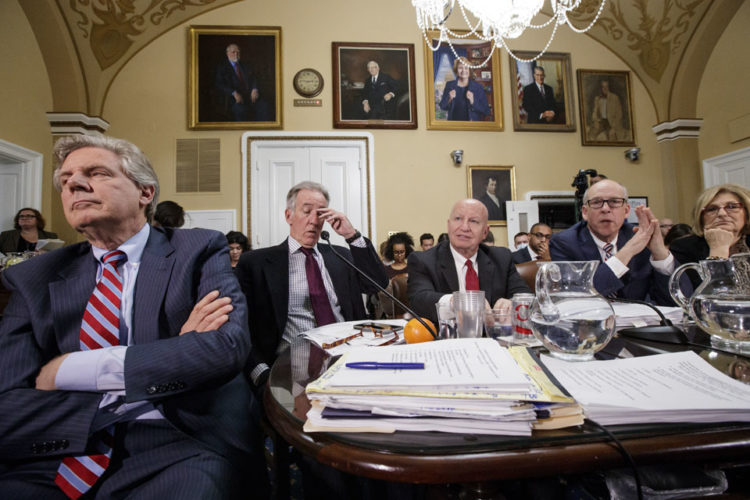From left, Rep. Frank Pallone, D-N.J., the ranking member on the House Energy and Commerce Committee, Rep. Richard Neal, D-Mass., the ranking member on the House Ways and Means Committee, House Ways and Means Chairman Rep. Kevin Brady, R-Texas, Energy and Commerce Committee Chairman Greg Walden, R-Ore., and Budget Committee Chair Diane Black, R-Tenn., gather in the House Rules Committee to shape the final version of the Republican health care bill before it goes to the floor for debate and a vote, Wednesday, March 22, 2017, on Capitol Hill in Washington. (AP Photo/J. Scott Applewhite)