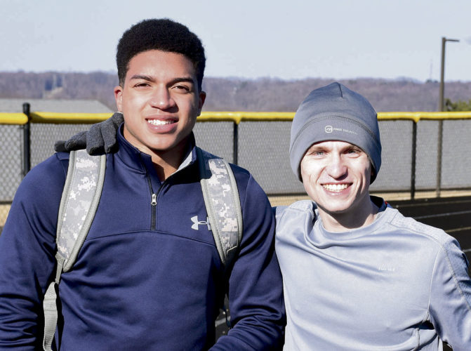Tribune Chronicle / John Vargo Brookfield's Xavier Bailey, left, and Mathews' Kenny Wallace, right, are on different teams, but the state qualifying sprinter and distance runner complement one another.